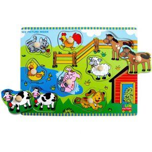 Wooden Farm House Knob Jigsaw Puzzle