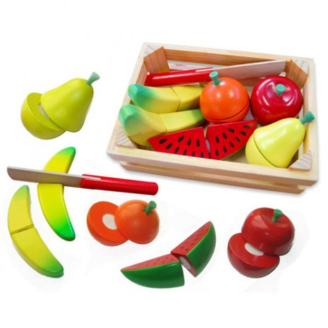 Wooden Cut and Peel 13pc Fruit Crate