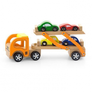 Wooden Car Carrier with Four Cars