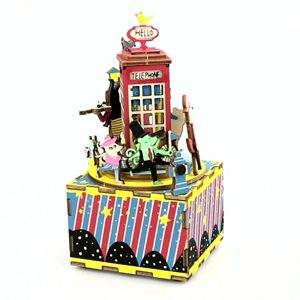 Phone Booth Wooden 3D Music Box Puzzle