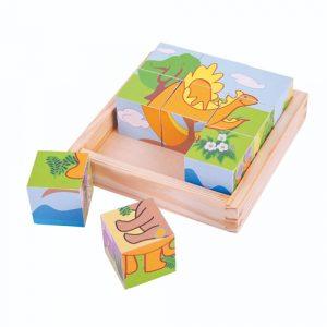 Wooden Dinosaur Cube Puzzle