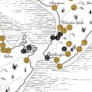 New Zealand Classic Scratch Map dots