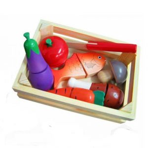 Wooden Cut and Peel 13pc Food Crate