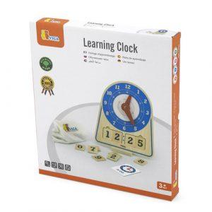 wooden digital analog learning clock