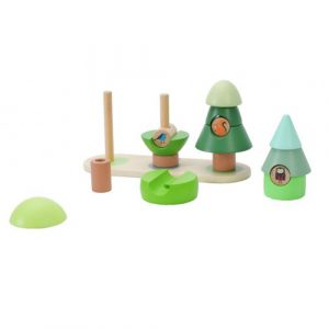 wooden little forest stacking rings