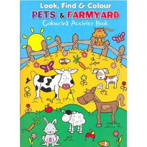 look find colour pets and farmyard activity book