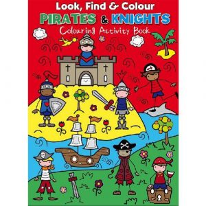 look find colour pirates and knights activity book