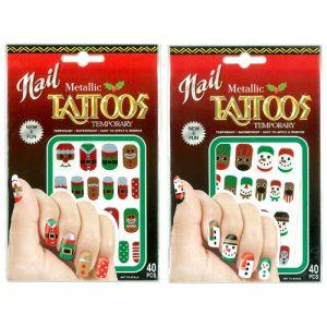 Christmas Metaliic Nail Tattoos