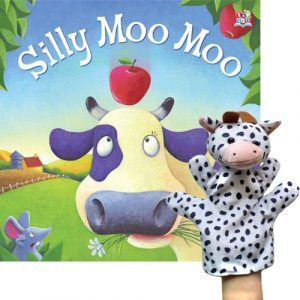 silly moo moo book and puppet combo