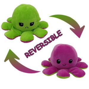 Reversible Plush Emotion Octopus green-purple